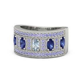Oval Aquamarine Palladium Ring with Blue Sapphire and Iolite