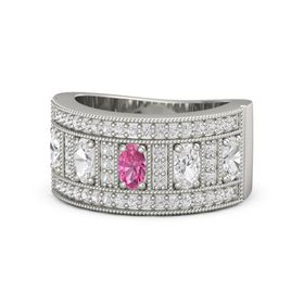 Oval Pink Tourmaline Palladium Ring with White Sapphire