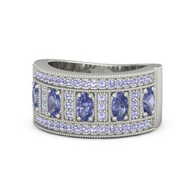 Oval Tanzanite Palladium Ring with Tanzanite