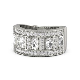 Oval Rock Crystal Platinum Ring with Rock Crystal and White Sapphire