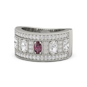 Oval Rhodolite Garnet Platinum Ring with White Sapphire