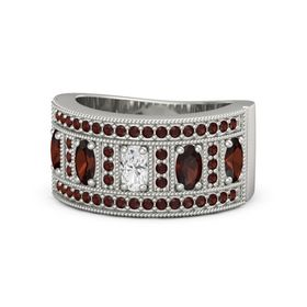 Oval White Sapphire Platinum Ring with Red Garnet
