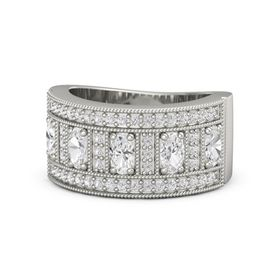 Oval White Sapphire Platinum Ring with White Sapphire