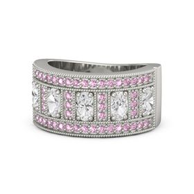 Oval White Sapphire Platinum Ring with White Sapphire and Pink Sapphire