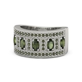 Oval Green Tourmaline Platinum Ring with Green Tourmaline