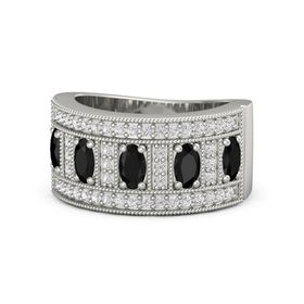 Oval Black Onyx Platinum Ring with Black Onyx and White Sapphire