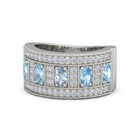 Oval Aquamarine Platinum Ring with Blue Topaz and Diamond