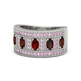 Oval Ruby Platinum Ring with Red Garnet & Pink Sapphire