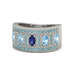 Oval Blue Sapphire Platinum Ring with Blue Topaz and London Blue Topaz