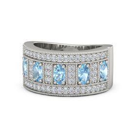 Oval Blue Topaz Platinum Ring with Blue Topaz and Diamond