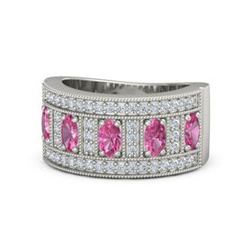 Oval Pink Tourmaline Platinum Ring with Pink Tourmaline and Diamond
