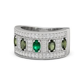 Oval Emerald Sterling Silver Ring with Green Tourmaline and White Sapphire