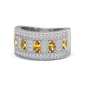 Oval Citrine Sterling Silver Ring with Citrine and Diamond