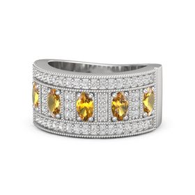 Oval Citrine Sterling Silver Ring with Citrine and White Sapphire