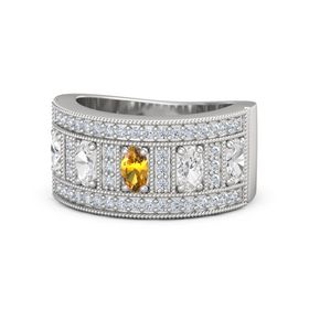 Oval Citrine Sterling Silver Ring with White Sapphire and Diamond