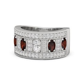 Oval White Sapphire Sterling Silver Ring with Red Garnet & White Sapphire