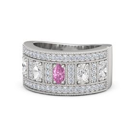 Oval Pink Sapphire Sterling Silver Ring with White Sapphire and Diamond
