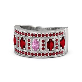 Oval Pink Sapphire Sterling Silver Ring with Ruby