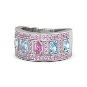Oval Pink Sapphire Sterling Silver Ring with Blue Topaz and Pink Tourmaline