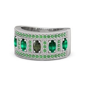 Oval Green Tourmaline Sterling Silver Ring with Emerald