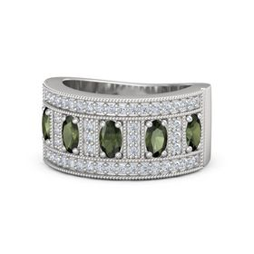 Oval Green Tourmaline Sterling Silver Ring with Green Tourmaline and Diamond