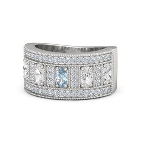 Oval Aquamarine Sterling Silver Ring with White Sapphire and Diamond