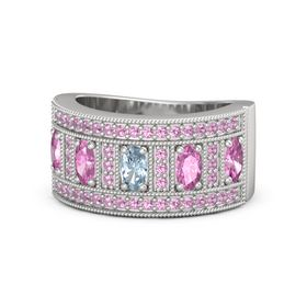 Oval Aquamarine Sterling Silver Ring with Pink Sapphire & Pink Tourmaline