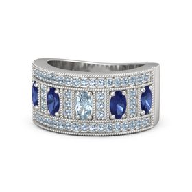 Oval Aquamarine Sterling Silver Ring with Blue Sapphire and Blue Topaz