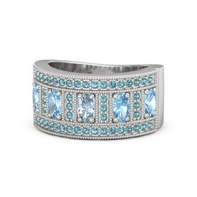 Oval Aquamarine Sterling Silver Ring with Blue Topaz and London Blue Topaz