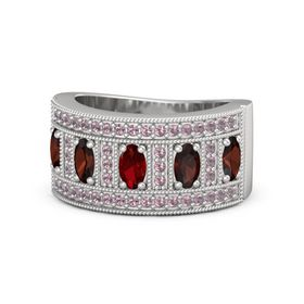 Oval Ruby Sterling Silver Ring with Red Garnet & Rhodolite Garnet