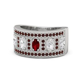 Oval Ruby Sterling Silver Ring with White Sapphire and Red Garnet