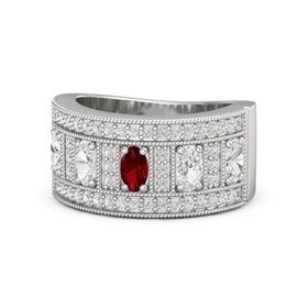 Oval Ruby Sterling Silver Ring with White Sapphire