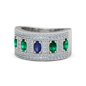 Oval Sapphire Sterling Silver Ring with Emerald & Blue Topaz