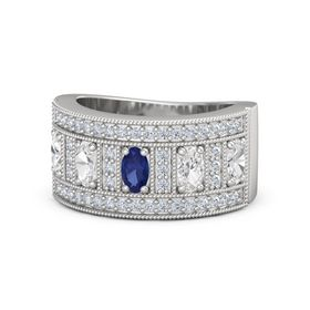 Oval Blue Sapphire Sterling Silver Ring with White Sapphire and Diamond