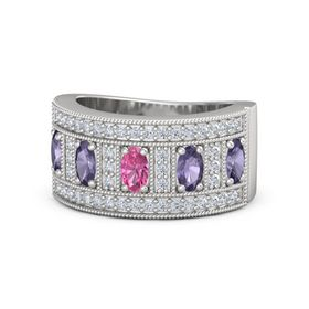 Oval Pink Tourmaline Sterling Silver Ring with Iolite and Diamond