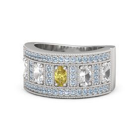 Oval Yellow Sapphire Sterling Silver Ring with Rock Crystal & Blue Topaz