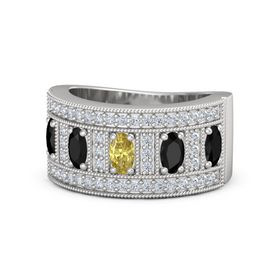 Oval Yellow Sapphire Sterling Silver Ring with Black Onyx & Diamond