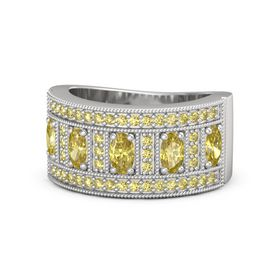 Oval Yellow Sapphire Sterling Silver Ring with Yellow Sapphire