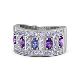 Oval Tanzanite Sterling Silver Ring with Amethyst & Tanzanite