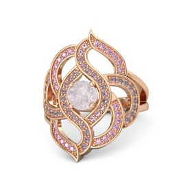Round Rose Quartz 14K Rose Gold Ring with Rhodolite Garnet and Pink Sapphire