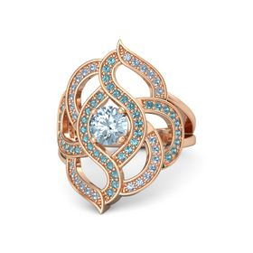 Round Aquamarine 14K Rose Gold Ring with London Blue Topaz & Blue Topaz