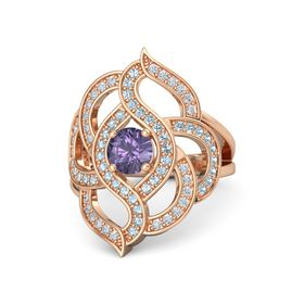 Round Iolite 14K Rose Gold Ring with Aquamarine & Diamond