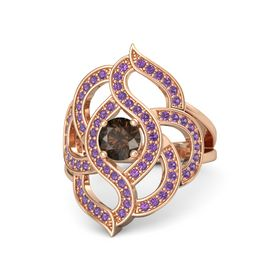 Round Smoky Quartz 14K Rose Gold Ring with Amethyst