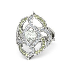 Round Green Amethyst 14K White Gold Ring with Diamond and Peridot