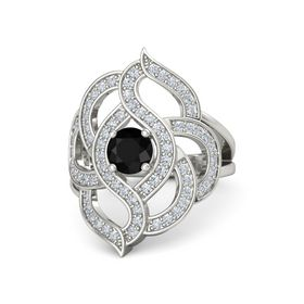 Round Black Onyx 14K White Gold Ring with Diamond