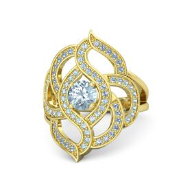 Round Aquamarine 14K Yellow Gold Ring with Aquamarine and Blue Topaz
