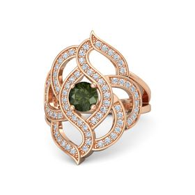 Round Green Tourmaline 18K Rose Gold Ring with Diamond