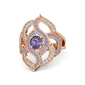 Round Iolite 18K Rose Gold Ring with Iolite and Diamond
