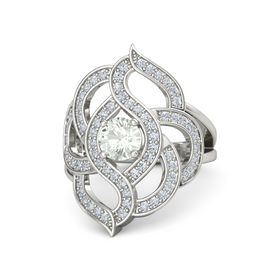 Round Green Amethyst 18K White Gold Ring with Diamond