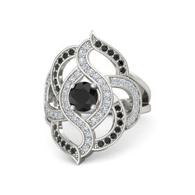 Round Black Diamond Palladium Ring with Diamond and Black Diamond